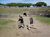 Maneesh and Hamish doing battle at the ampitheatre at Pompeii.: by milko_rosie, Views[300]