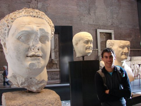 Maneesh with a few busts at the Roman Forum.