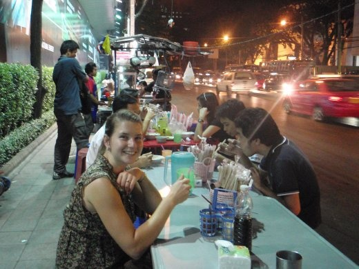 Our first dinner in Bangkok at one of the local eats. Very tasty, but noisy!