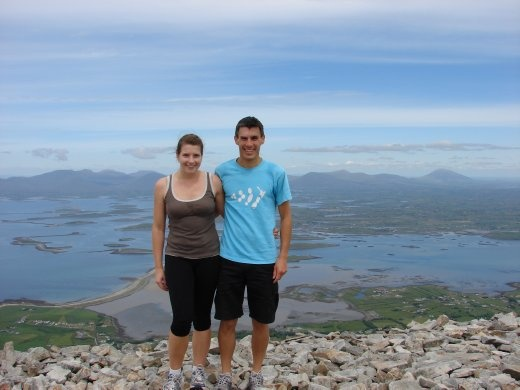 Us at the top of Croagh Patrick on a rare sunny and clear day.