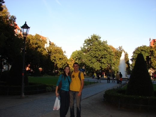 Us at Viktoria Louis Platz, just outside the underground entrance.