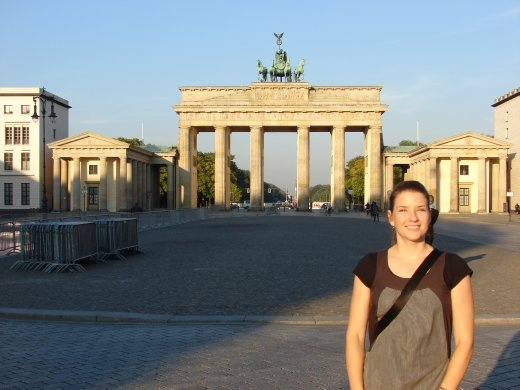 Em at the Brandenburg Gate. We were into the city nice and early for this photo.