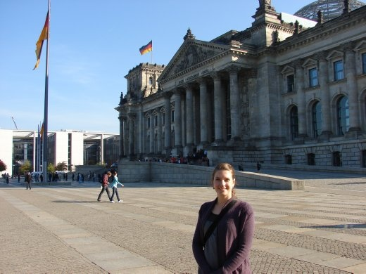 Em outside the Reichstagg, Germany's Parliament.