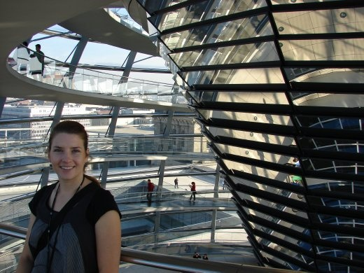 Em inside the dome on top of the Reichstagg.