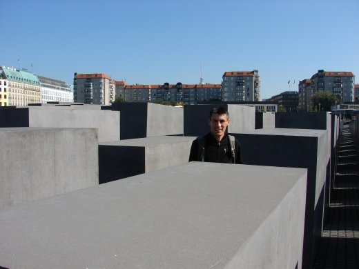 Maneesh in the Holocaust Memorial (Memorial of the murdered Jews of Europe). No two blocks are the same height.