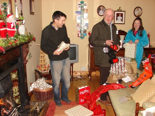 Present time on Christmas day morning.