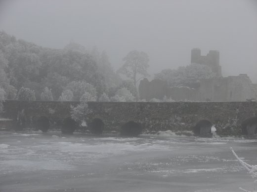 The bridge at Adare. The river is frozen solid on top.   -13deg outside.