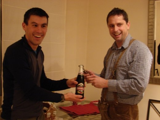 James and I opening one of our favourite beers, Primator.