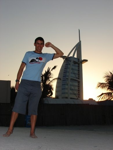 Maneesh next to the Burk Al Arab, the worlds only 7 star hotel.
