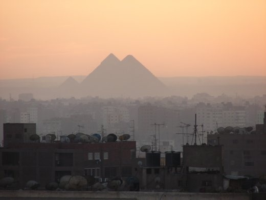 From our hotel rooftop. The sun sets on the pyramids, and our holiday in Egypt.