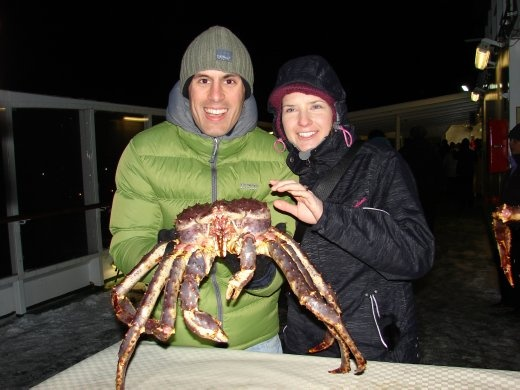 Us with a giant crab. Part of the seafood buffet dinner that night :-)