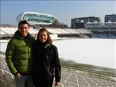 Em and I at a snow covered Lords with the media centre in the background. : by milko_rosie, Views[171]