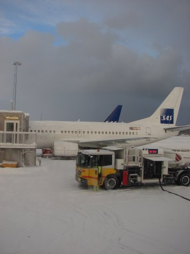 Stop over in Tromso airport. Lots of snow, but no delays.