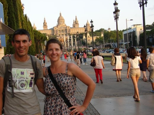 Us on our way to the 'Magic Fountain' in Barcelona.