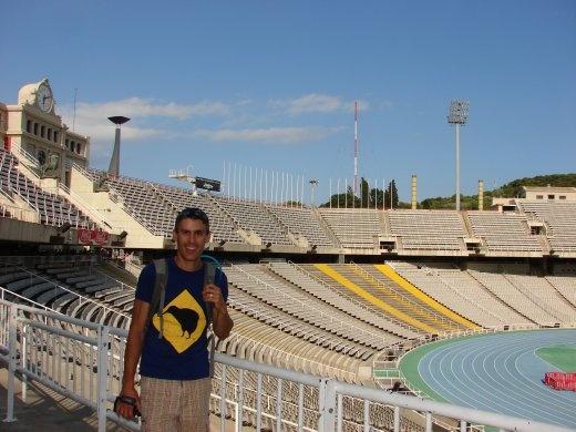 Maneesh inside the Olympic stadium at Barcelona.