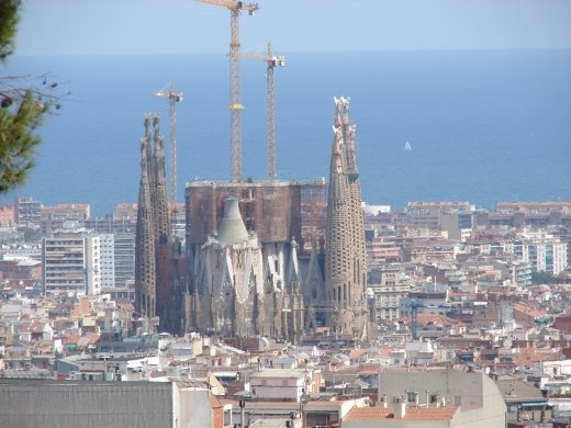 The Sagrada Familia from a look out point in Park Guell. It dwarfs everything else in the city.