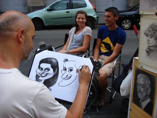 Us getting a caricature on La Rambla.