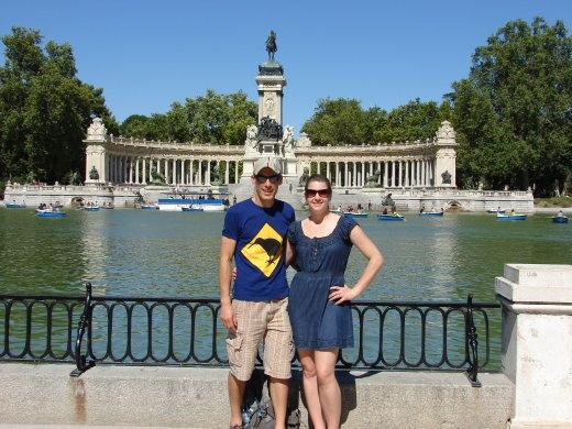 Us in front of the Alfonso XII monument in Retiro Park.