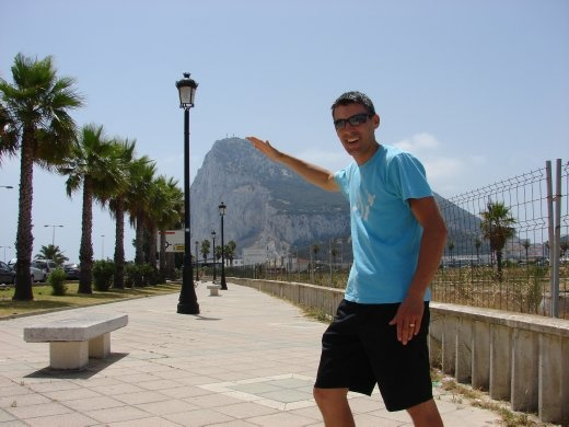 Maneesh in front of the rock of Gibraltar.