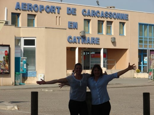 Em and Christine touch down in Carcassonne. Welcome to the heat, great food, and wonderful scenary.
