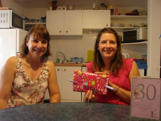 Happy 30th birthday Em - Christine with Em as she gets into her presents.