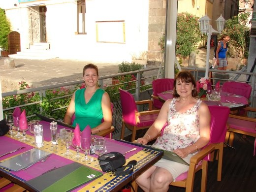 Em and Christine at the restaurant for dinner. Very pretty and pink.