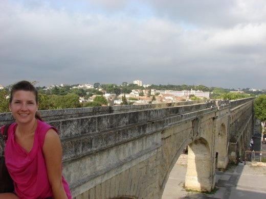 Em with the aquaduct in Montpellier.