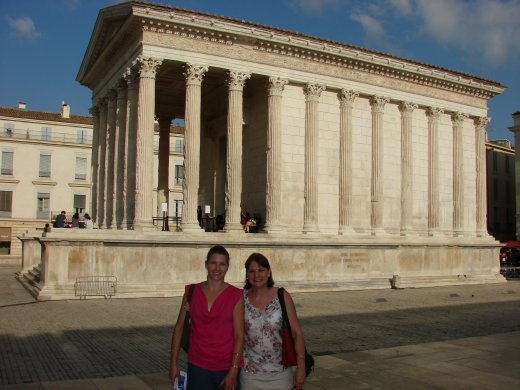 Em and Christine outside the Maison Carree in Nimes.