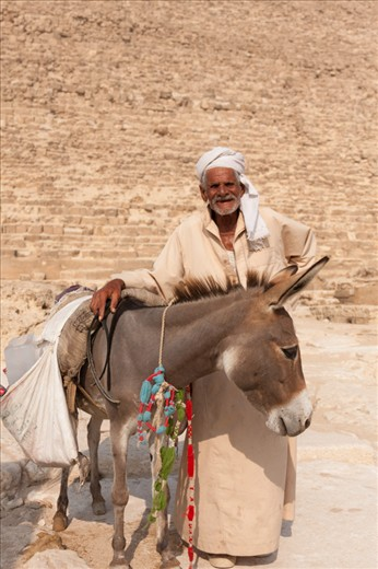 A man and his donkey sell water at the base of the Pyramid of Khufu in Giza.