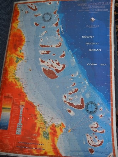 The map to show the reefs where we have flown to