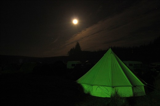 The moon is over looking the scene of the Knockengorroch Festival.