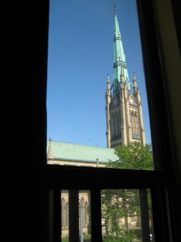 View from the dorm window - St. James Church
