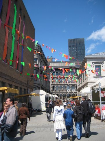 Cultural market next to Pointe-a-calliere, the Montreal Museum of Archeology and History on Free Museum Day. Lots of different food to try!