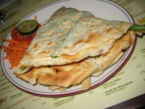 You can't see it, but this one's an asparagus, spinach and swiss cheese crepe. Hot on the inside, crispy on the outside. Very yummy!
