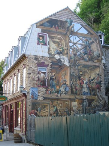 Randomly around the city you would see painted murals depicting old times.