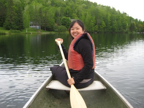 Canoeing on the lake by the hostel