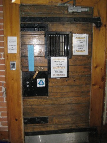 To get to the rooms, you go through this very heavy door. The key code is changed everyday.