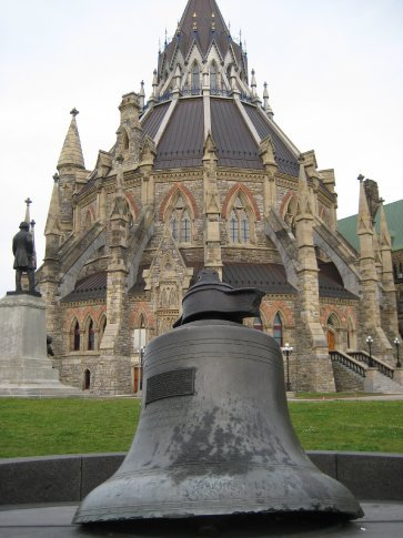 This is the first Canadian Parliament bell and was taken from the old clock tower after it burned down. Apparently the clock struck the midnight hour as the flames engulfed it. Sad or creepy?