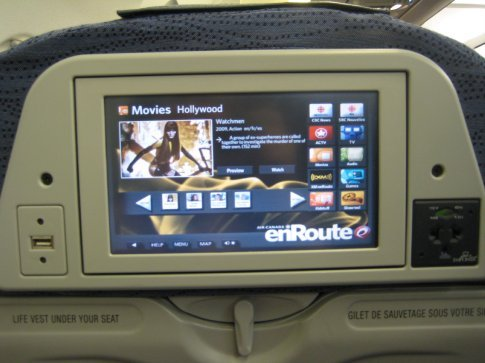 The Air Canada entertainment system is great. It's touch screen, there're many programs, a USB port and power outlet.