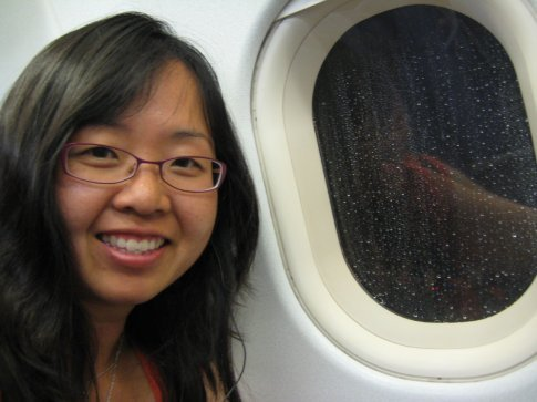 Yay! I got a window seat! In fact, I got 3 seats to myself!