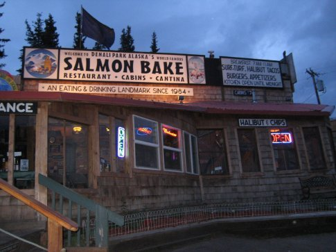 The Salmon Bake at midnight. Look at how bright the sky still is!!
