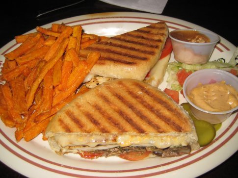 Excellent panini and sweet potato fries at the Peanut Farm (it's a bar and grill, not really a farm for peanuts, in case you were wondering)