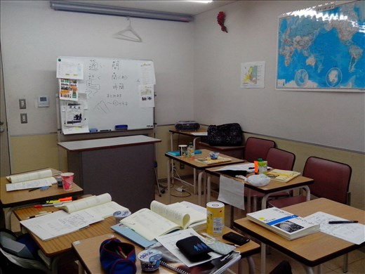 Our classroom (with fancy Kanji explanation at the whiteboard).