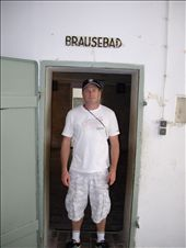 You didn't want to be standing in this doorway in the 1940's.  Entrance to the gas chamber at Dachau Concentration Camp with false sign saying