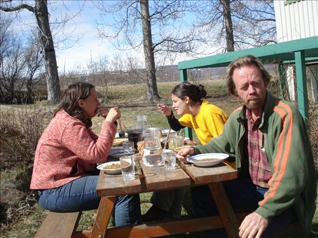 Lunch outside. Susann, from Germany, on the left. Sabrina and Eymundur on the right.