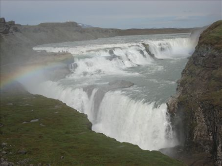 Gullfoss with hints of a rainbow.