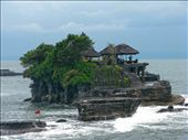 Tanah Lot the temple in the sea is one of those classic post card shots that many take at sunset on a visit to Bali. Unfortunately the weather was not on my side and had been raining for days so I just had to take the opportunity that I was given and that was a nasty grey old day.  It was quite a busy day, there were many tour buses there and the place was crawling with people. The temple is located in the ocean and can only be accessed at low tide. Unfortunately it was high tide so we couldn't get up close and personal but we were told we wouldn't be allowed to enter anyway which I think is fair enough. We took heaps of pictures waiting our turn with the many people in the prime photographic points all taking turns. Everyone was very friendly and respectful to one and other no pushing and shoving for prime spots. Getting a picture without any other tourist in view was tricky.: by mrsgee, Views[139]