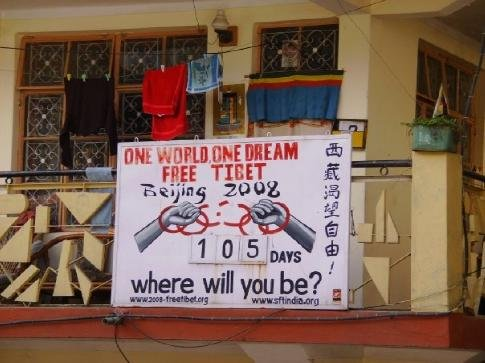 Tibetans against the Chinese Olympics, McLeod Ganj.