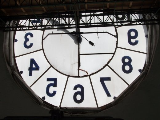 Quito Basilica clock, seen from inside the tower.