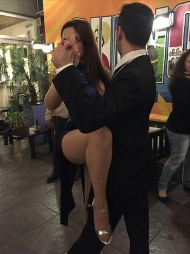 Christina and Ariel demonstrating the tango